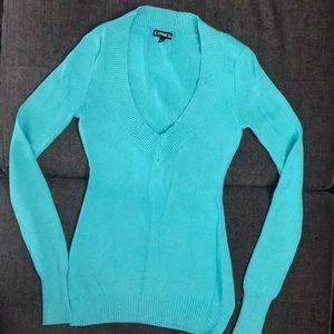 Express XS aqua blue turquoise sweater v-neck